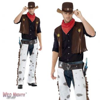 "FANCY DRESS COSTUME # ADULT MENS WILD WESTERN COWBOY MEDIUM 38"" - 40"""